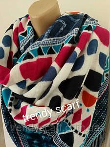 Женский теплый цветной платок плед синий голубой красный черный белый  орнамент шерсть 140/140