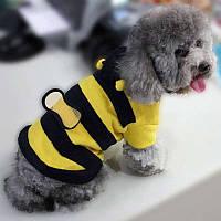 Кофта флисовая с капюшоном Пчелка для собак маленькой породы