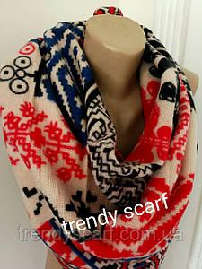Женский теплый цветной платок плед красный синий черный белый  бежевый орнамент шерсть 140/140
