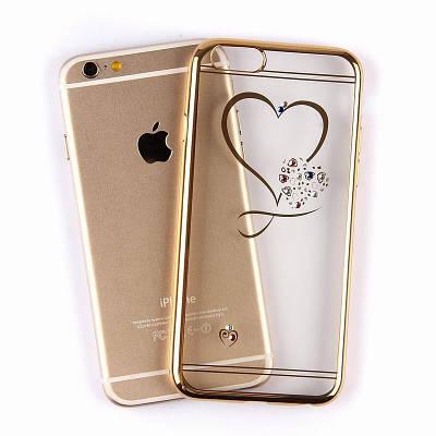 Чехол накладка на iPhone 7/8 plus с сердечком и ободком прозрачный, золотой