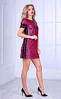 Женское платье из перфорированного кожзама с кружевом (бордовое) Poliit № 8438