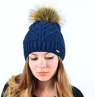 Зимняя теплая вязанная шапка