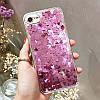 Чехол накладка на iPhone 7/8 plus прозрачный с плавающими фиолетовыми сердечками