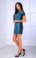 Женское платье из перфорированного кожзама с кружевом (бутылочное) Poliit № 8438