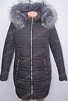 Черное теплое женское  пальто куртка с меховым воротником
