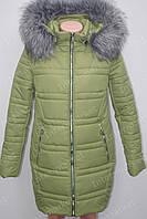 Стильное теплое женское  пальто куртка с меховым воротником