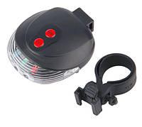 Мигалка задняя фонарь разноцветная светодиодно-лазерная с двумя лазерами для велосипеда SKU0000880