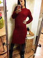 Тёплое и стильное вязаное платье