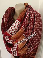 Женский теплый цветной платок плед красный белый желтый бордовый коричневый орнамент шерсть 140/140