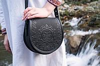 Кожаная женская сумка, черная сумочка, сумка через плечо, фото 1