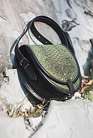 Женская кожаная сумка с металлом, горячее тиснение, 21х22 см
