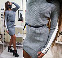 Женское вязаное платье с поясом