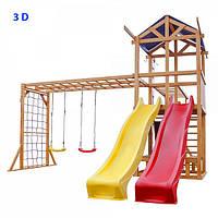 """Детская площадка 3D """"Восемь в одном"""" с 2 горками Качели Сетка Столик, фото 1"""