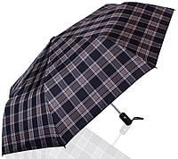 Клетчатый мужской зонт полный автомат ТРИ СЛОНА RE-E-907L-1, серый с черным