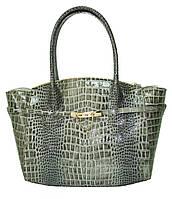 Женская сумка кожаная зелёная крокодил, фото 1