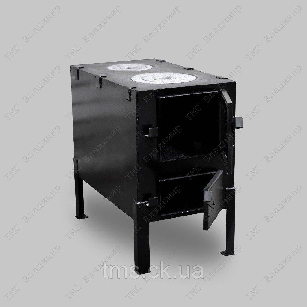 Отопительно-варочная печь КВД-150 с чугунной плитой на две конфорки