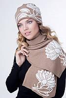 Комплект женская шапка и шарф с цветами ЛИЛИЯ