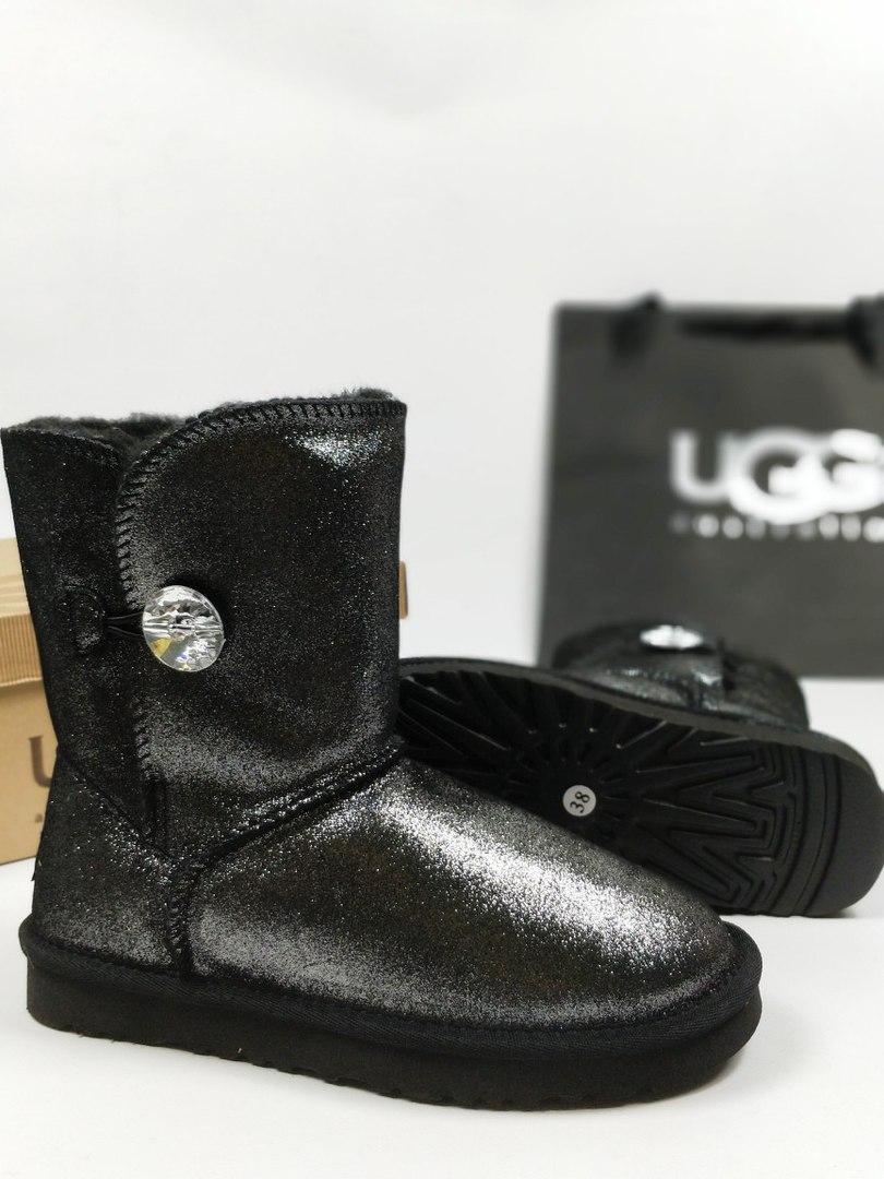 Австралийские угги UGG Australia Bailey Button metalic Bling black. Живое фото. (Реплика ААА+)