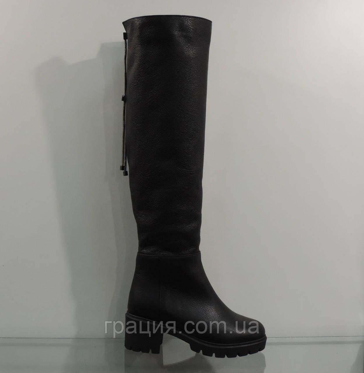 9c37a509de4f Высокие зимние женские кожаные сапоги на тракторной подошве - Грація в  Конотопе