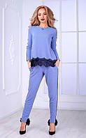 Женский брючный костюм с кружевом и узким рукавом  (голубой) Poliit №7091