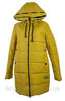 Женская зимняя куртка длинная цвет горчичный