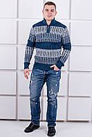 Мужской свитер Амадей змейка (синий)