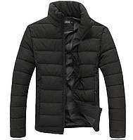 Зимова чоловіча чорна куртка (слімтекс) без капюшона, фото 1