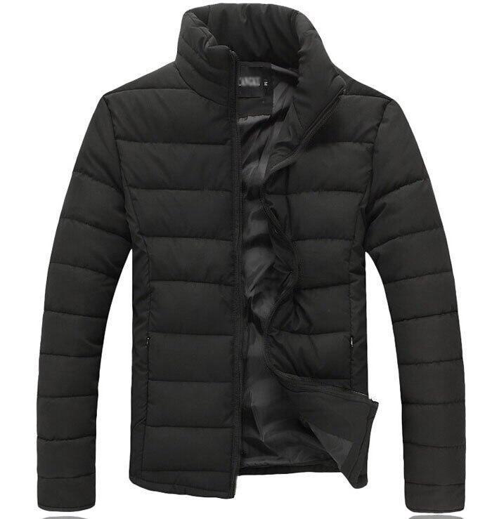 Зимняя мужская черная куртка (слимтекс) без капюшона