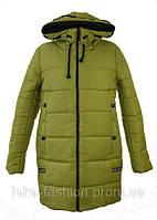 Женская зимняя куртка длинная цвет оливковый