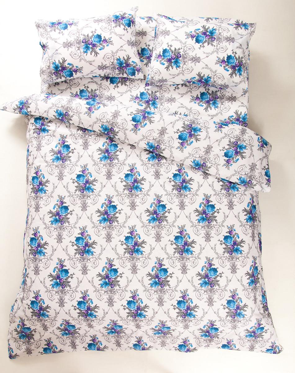 Постельное белье Lotus Ranforce - Loise V1 синее двуспальное