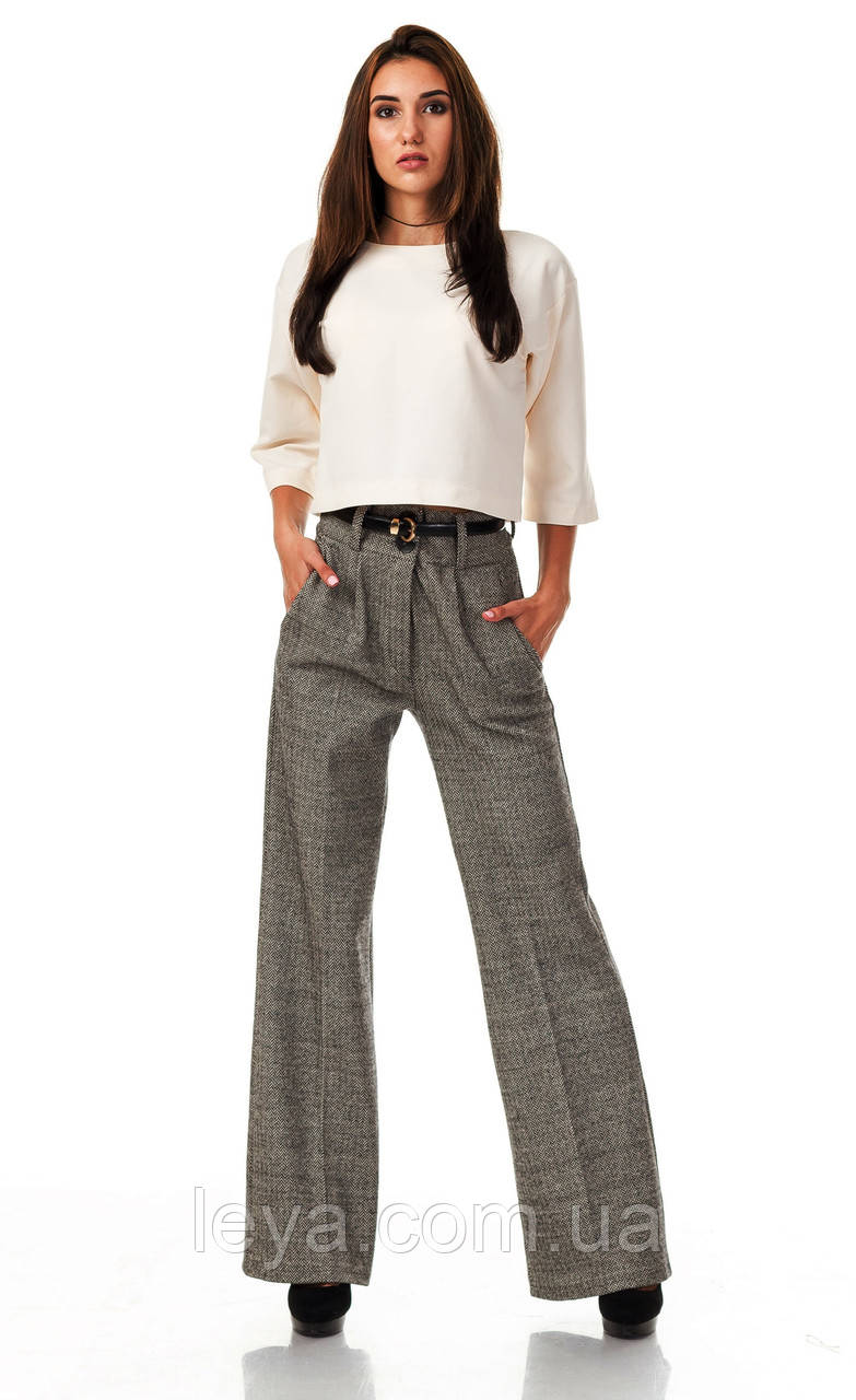 Женские классические брюки из шерсти оптом. Модель БР22_елочка бежевая.