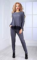 Женский брючный костюм с кружевом и узким рукавом  (серый) Poliit №7091
