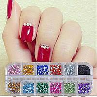 Разноцветные стразы для ногтей декора 12 цветов (3000 штук в наборе)