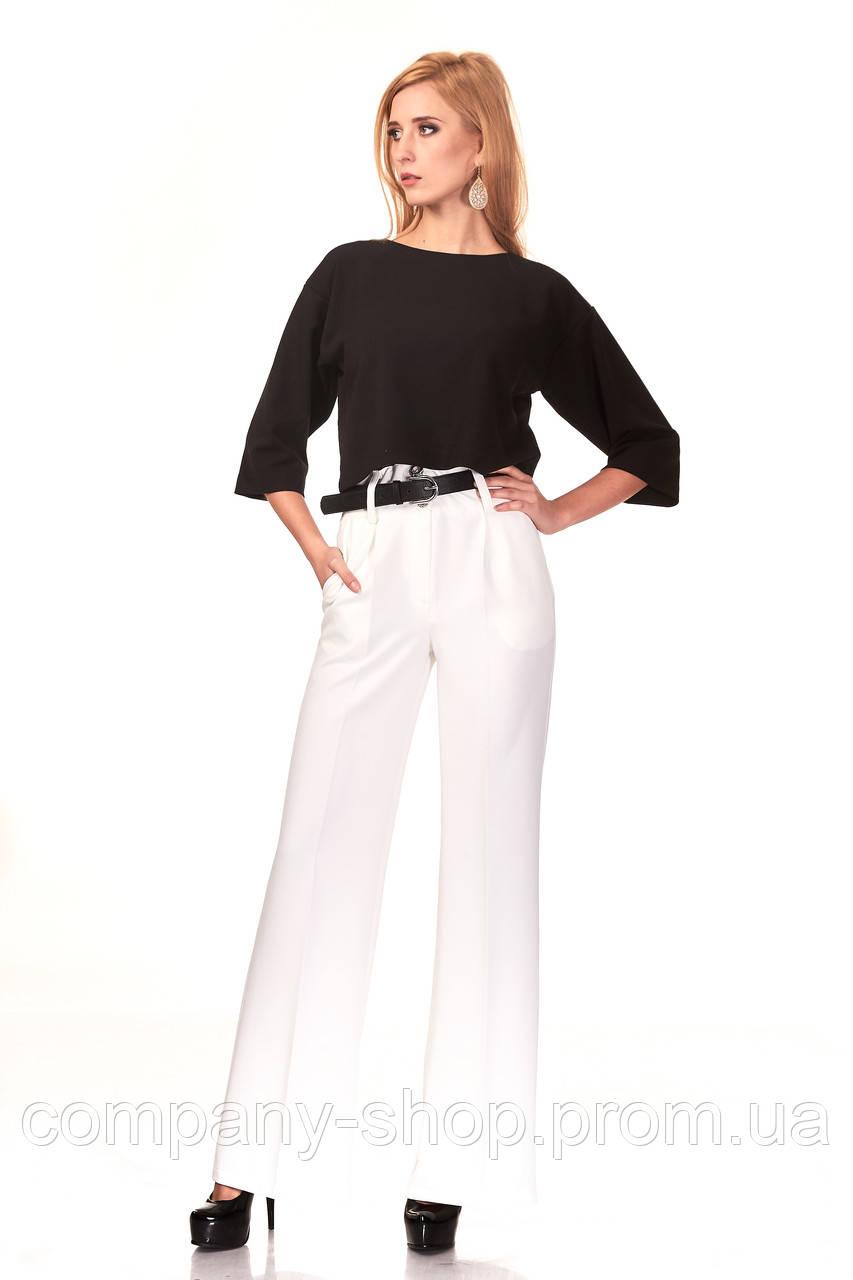 Женские классические брюки из крепа оптом. Модель БР22_белый.