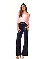 Женские классические брюки из крепа оптом. Модель БР22_синий., фото 1