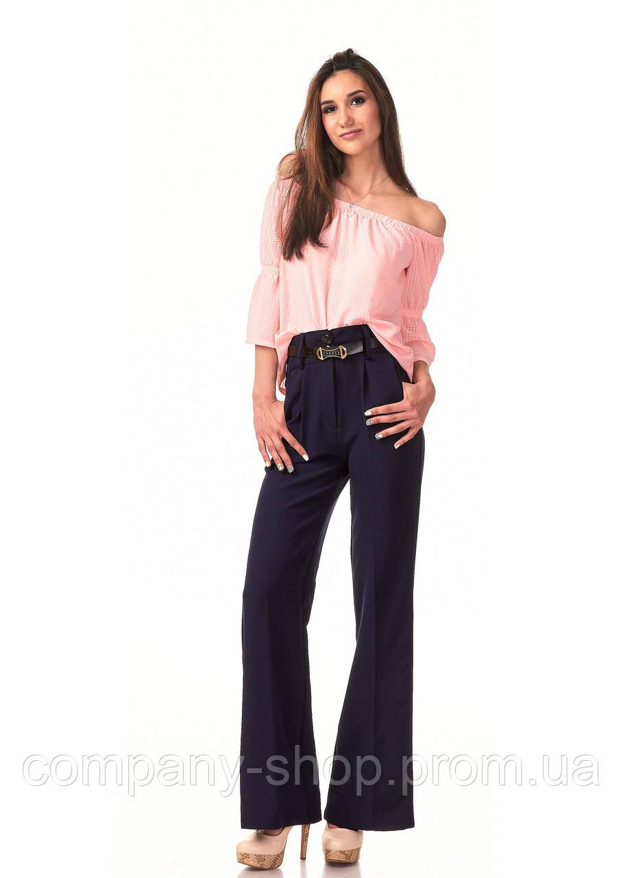 Женские классические брюки из крепа оптом. Модель БР22_синий.