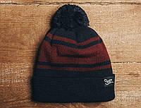 Зимняя черная шапка Staff с помпоном KS0058-3