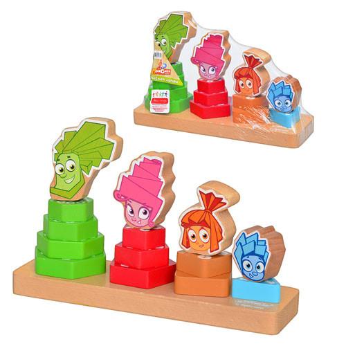 Деревянная игрушка Пирамидка GT6021  Фиксики, 4шт, 24,5-16-7,5см
