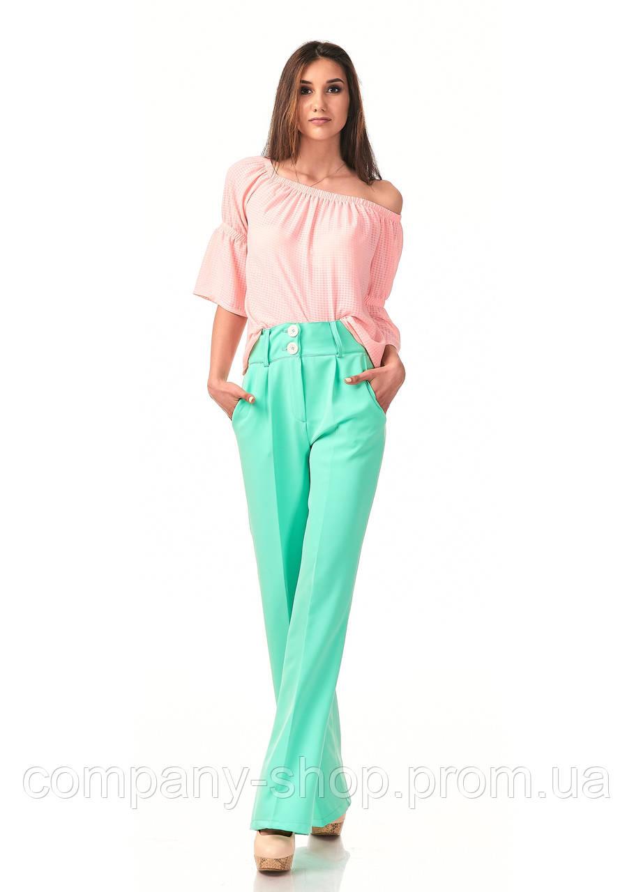 Женские классические брюки из крепа оптом. Модель БР22_ментоловый.