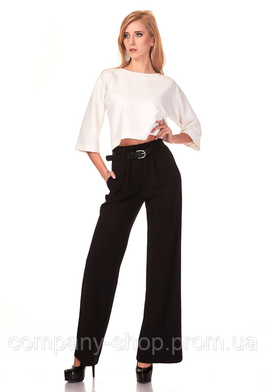 Женские классические брюки из крепа оптом. Модель БР22_черный.