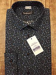 Рубашка молодежная темно-синяя в серо-голубой цветочный принт