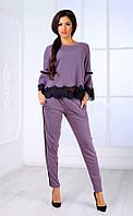 Женский брючный костюм с кружевом и рукавами-клеш  (фиолетовый) Poliit №7090