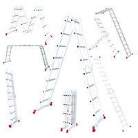 Лестница алюминиевая мультифункциональная трансформер 4*4ступ. 4.75м Intertool LT-0029