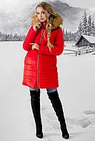 Зимняя красная куртка с бежевым мехом