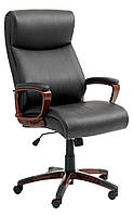 Кресло офисное на колесиках кожаное коричневое с подъемным механизмом