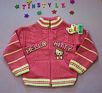 Красивая вязаная кофта Китти  для девочки на 1-3 годика