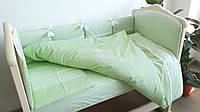 Комплект бортики и постель в кроватку салатовый 4 ед., фото 1