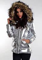 Куртка женская короткая из экокожи на синтепоне P7777