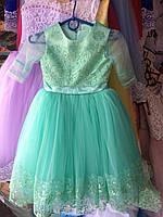 Платье детское нарядное новогоднее Марианна мятное 5-6 лет