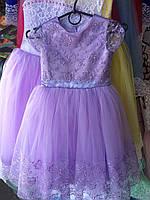 Платье детское нарядное новогоднее Марианна фиолетовое 5-6 лет